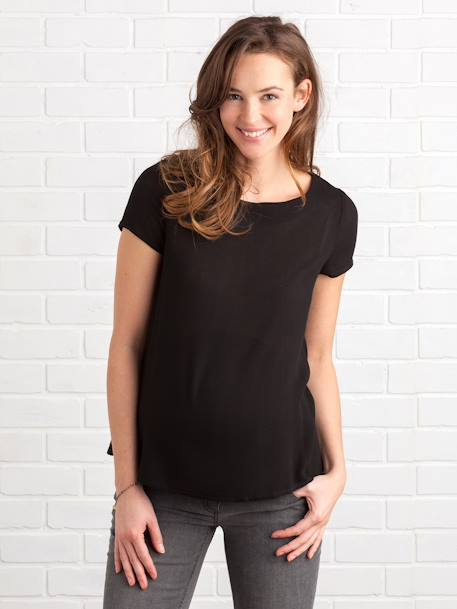 Maternity Blouse with Back Opening BLACK DARK SOLID+WHITE LIGHT SOLID - vertbaudet enfant