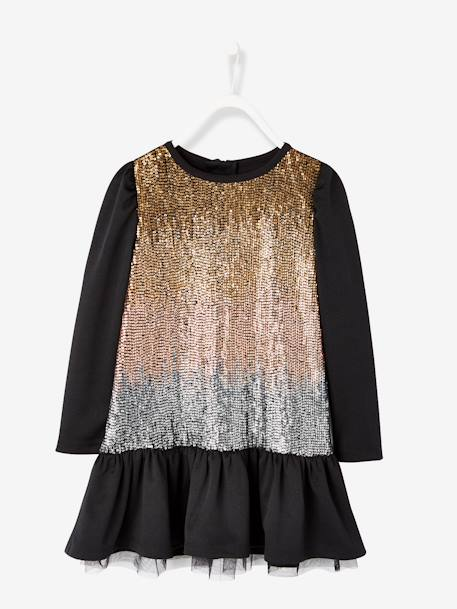 Girls' Sequinned Dress BLACK DARK SOLID WITH DESIGN - vertbaudet enfant