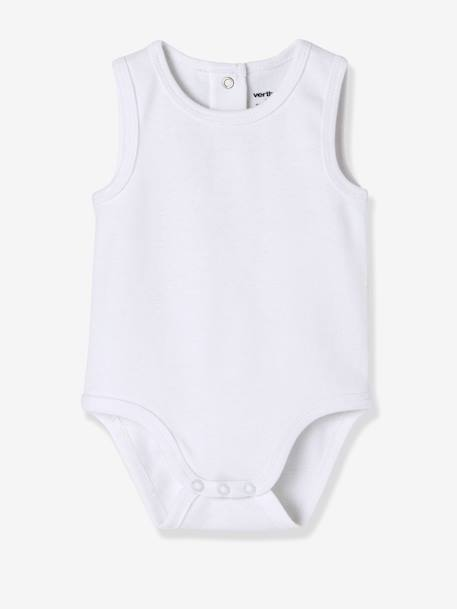 Babies' Pack of 3 Sleeveless Bodysuits, Organic Collection WHITE MEDIUM SOLID - vertbaudet enfant