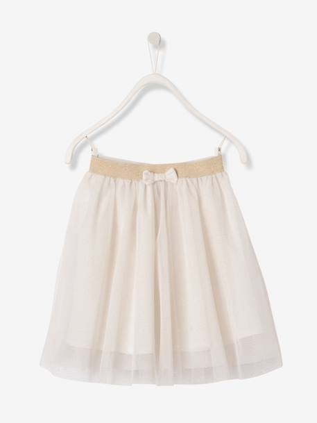 Girls' Glittery Tulle Skirt PINK LIGHT SOLID+WHITE LIGHT SOLID - vertbaudet enfant
