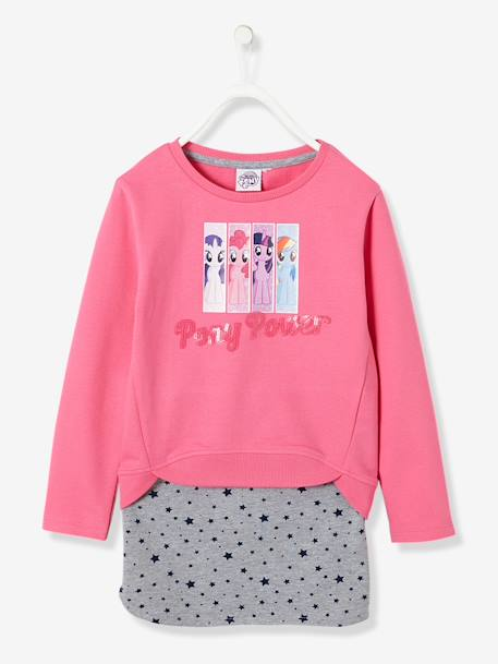 Girls' Fleece Sweatshirt & Skirt, My Little Pony® Theme PINK MEDIUM SOLID WITH DESIG - vertbaudet enfant