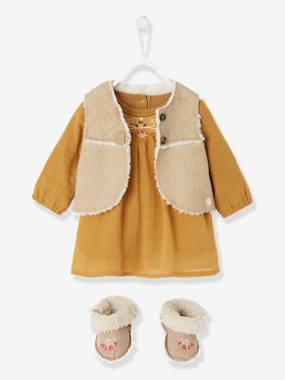 Baby-Outfits-Baby Crepon Dress + Waistcoat + Embroidered Booties Outfit