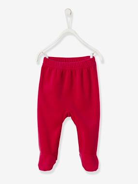 Vertbaudet Collection-Baby Velour Pyjamas, Press-Studded Shoulder