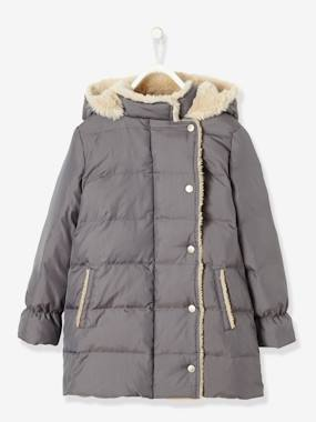Coat & Jacket-Girls' Long Padded Jacket, Feather & Down Filling