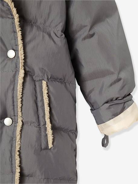 Girls' Long Padded Jacket, Feather & Down Filling BLACK DARK SOLID+GREY DARK SOLID - vertbaudet enfant