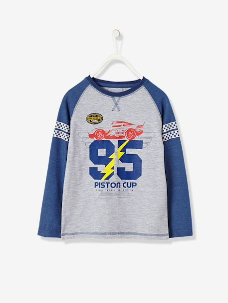 Boys' Long-Sleeved T-Shirt, Cars® Theme GREY MEDIUM MIXED COLOR - vertbaudet enfant