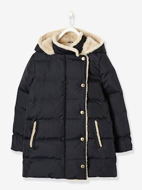 Mid season sale-Girls' Long Padded Jacket, Feather & Down Filling