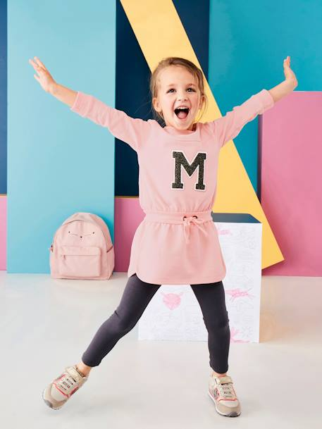 Ensemble sport fille robe molleton + legging Rose pâle - vertbaudet enfant
