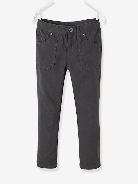 Boys' Indestructible Straight Cut Trousers BLUE DARK SOLID+GREY DARK SOLID - vertbaudet enfant