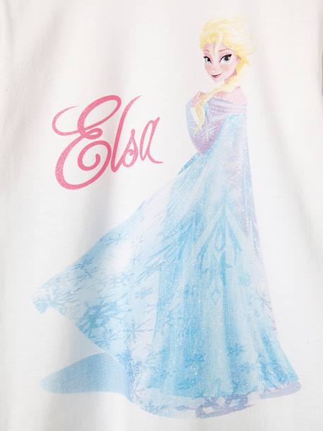 Girls' Pyjamas with Elsa Motif, Frozen® Theme WHITE LIGHT SOLID WITH DESIGN - vertbaudet enfant