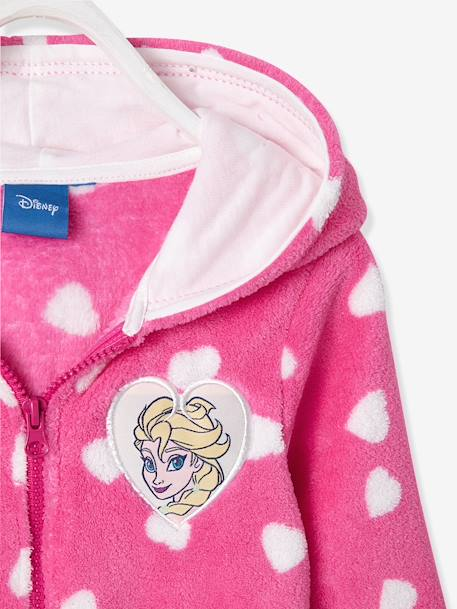 Girls' Short Bathrobe, Frozen® Theme PINK DARK ALL OVER PRINTED - vertbaudet enfant