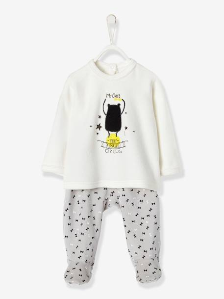 Baby Two-Pieces Velour Pyjamas WHITE LIGHT SOLID WITH DESIGN - vertbaudet enfant