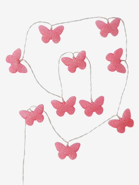 Luminous Glittery Butterfly Garland PINK MEDIUM SOLID WITH DESIG - vertbaudet enfant