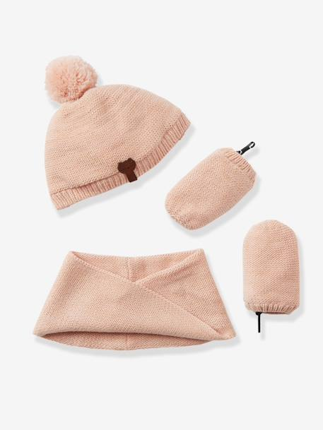 Baby Girls' Iridescent Beanie, Snood & Mittens Set, Lined PINK DARK SOLID+WHITE LIGHT SOLID - vertbaudet enfant