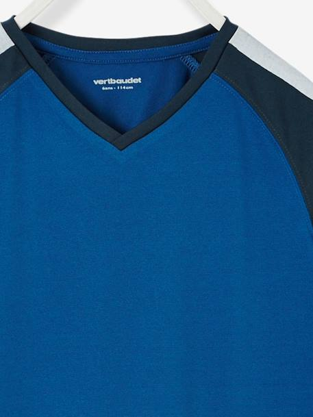 Boys' Sports T-Shirt BLUE DARK SOLID WITH DESIGN - vertbaudet enfant