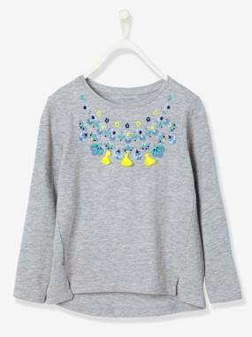 Girls-Tops-Girls' Embroidered T-Shirt