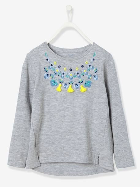 Girls' Embroidered T-Shirt GREY LIGHT MIXED COLOR - vertbaudet enfant