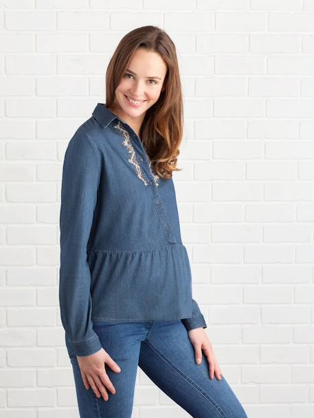 Embroidered Denim Maternity Shirt BLUE DARK WASCHED - vertbaudet enfant