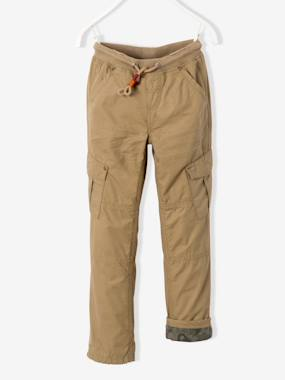 Vertbaudet Collection-Boys-Boys' Combat-Style Trousers Lined with Jersey Knit Fabric
