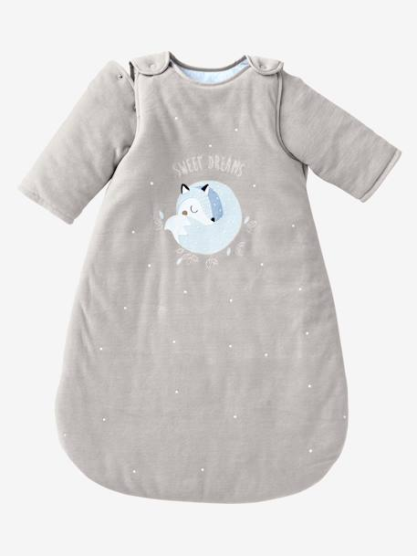 Velour Sleep Bag with Removable Sleeves, Arctic Wolf Theme GREY LIGHT SOLID WITH DESIGN - vertbaudet enfant