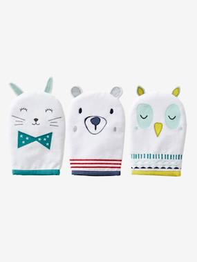 Bedding & Decor-Bathing-Bath Capes-Pack of 3 Bath Gloves, Animals
