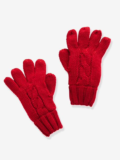 Boys' Gloves/Mittens GREY LIGHT MIXED COLOR+RED DARK SOLID - vertbaudet enfant