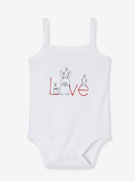 Baby Girls' Pack of 5 Bodysuits with All-over Print, Thin Straps WHITE LIGHT ALL OVER PRINTED - vertbaudet enfant