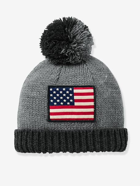 Boys' Beanie with Flag GREY MEDIUM MIXED COLOR - vertbaudet enfant