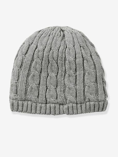 Boys' Cable Knit Beanie GREY LIGHT MIXED COLOR - vertbaudet enfant