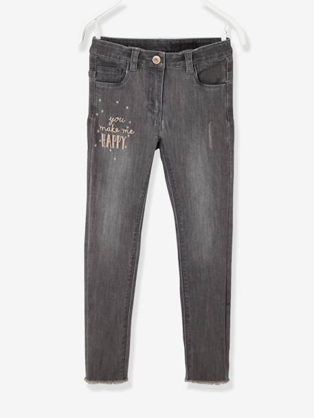 Girls' Embroidered Skinny Jeans GREY MEDIUM WASCHED - vertbaudet enfant