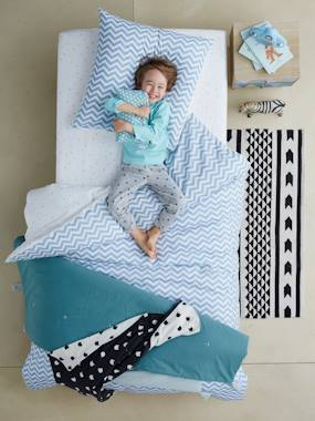 Bedroom-Children's Duvet Cover & Pillowcase Set, Chevron/Triangles