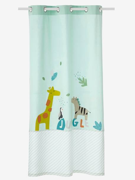 Opaque Jungle Curtain GREEN LIGHT SOLID WITH DESIGN - vertbaudet enfant