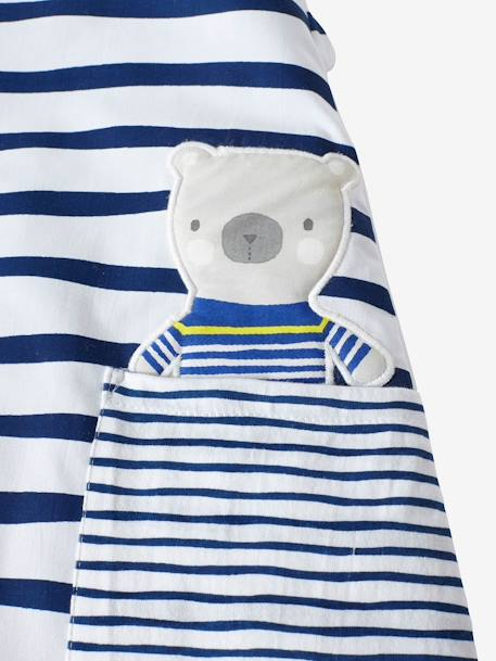 Long-Sleeved Baby Sleep Bag, Fun Sailor Theme WHITE LIGHT ALL OVER PRINTED - vertbaudet enfant