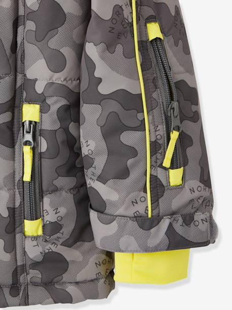 Boys' Ski Parka GREY DARK ALL OVER PRINTED - vertbaudet enfant