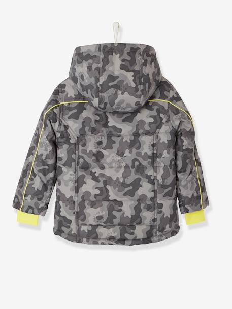 Boys' Ski Parka BLUE BRIGHT 2 COLOR/MULTICOL+GREY DARK ALL OVER PRINTED - vertbaudet enfant