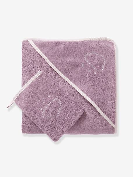 Bath Cape & Wash Mitt GREEN LIGHT SOLID+Grey blue+Pink+PURPLE MEDIUM SOLID - vertbaudet enfant