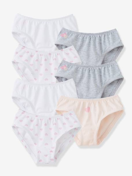 Pack of 7 Briefs PINK LIGHT SOLID+White + pink + light grey - vertbaudet enfant