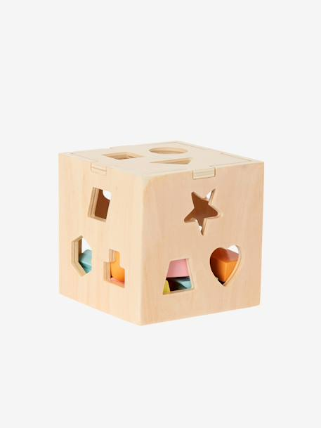 Box with Wooden Shapes to Sort and Fit PINK MEDIUM SOLID WITH DESIG - vertbaudet enfant