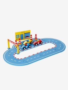 Toys-Playsets-Wooden Race Track with Cars and Accessories