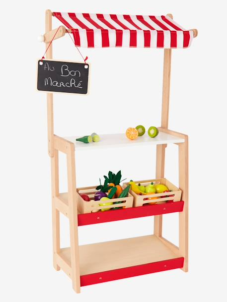 Wooden Stall RED MEDIUM SOLID WITH DESIG - vertbaudet enfant
