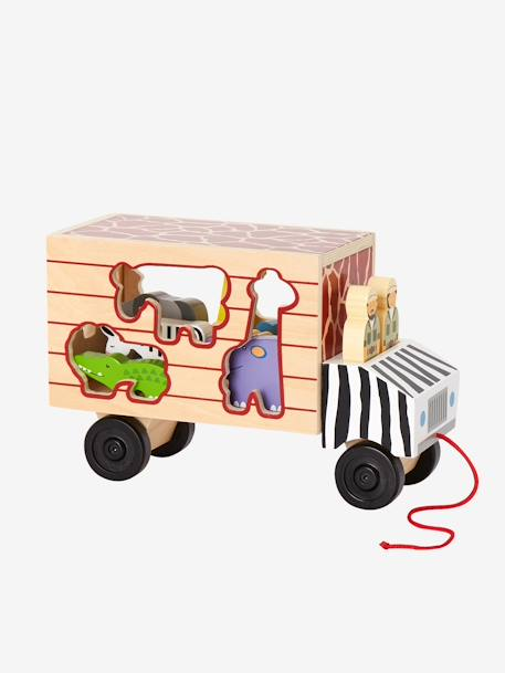 Wooden Lorry with Animals to Sort BLACK MEDIUM SOLID WITH DESIGN - vertbaudet enfant