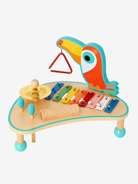 Wooden Musical Activity Table BLUE MEDIUM SOLID WITH DESIGN - vertbaudet enfant