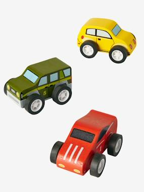 Vertbaudet Sale-Toys-Set of 3 Wooden Cars