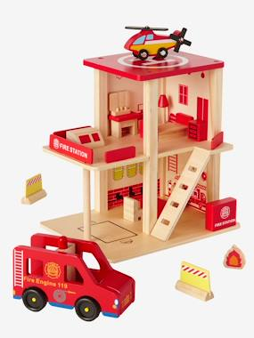 Toys-Playsets-Wooden Fire Station & Accessories
