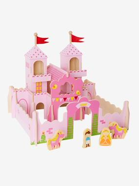 Toys-Playsets-Wooden Princess Castle with Characters