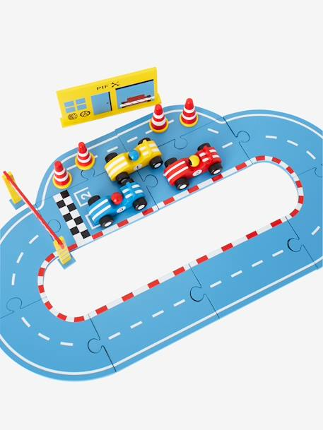 Wooden Race Track with Cars and Accessories GREY MEDIUM SOLID WITH DESIGN - vertbaudet enfant