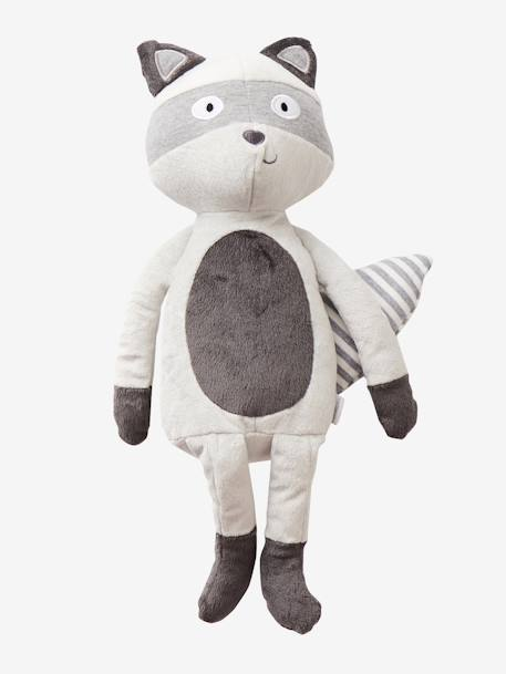 Plush Raccoon GREY MEDIUM SOLID WITH DESIGN - vertbaudet enfant