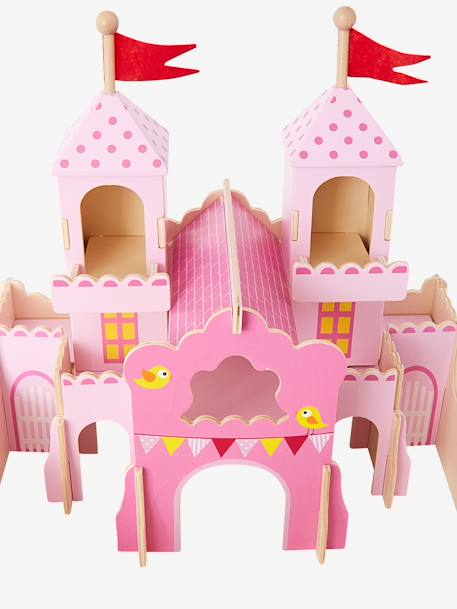 Wooden Princess Castle with Characters PINK MEDIUM SOLID WITH DESIG - vertbaudet enfant