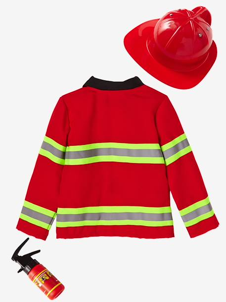 Fire-fighter Costume RED MEDIUM SOLID WITH DESIG - vertbaudet enfant