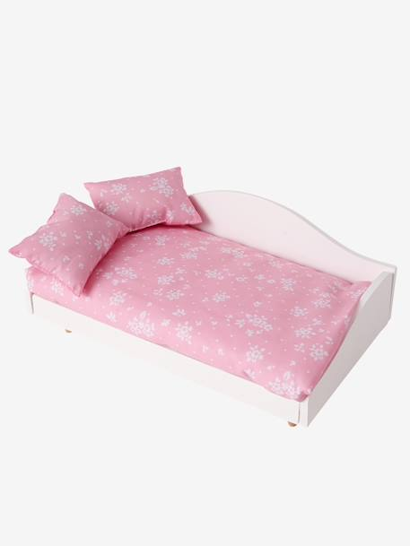 Doll's Wooden Bed with Linen WHITE LIGHT SOLID - vertbaudet enfant